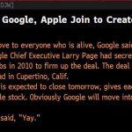 道瓊通訊社技術失誤,誤發 Google 購併蘋果的假新聞