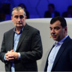 Intel CEO Brian Krzanich (left) and Mobileye co-founder Amnon Shashua speak at the BMW Group news conference. The BMW Group, Intel, and Mobileye on Wednesday, Jan. 4, 2017, announced that a fleet of about 40 autonomous test vehicles will be tested on the roads by the second half of 2017. The event was a lead-in to the 2017 International Consumer Electronics Show. The event runs from Jan. 5 to Jan. 8, 2017, in Las Vegas. (CREDIT: Walden Kirsch/Intel Corporation)