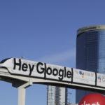 """下載自美聯社 A monorail advertising Google Assistant, which is activated with the voice command """"Hey Google"""",'at the CES consumer electronics show in Las Vegas, USA, 7 January 2018. Photo by: Christoph Dernbach/picture-alliance/dpa/AP Images"""