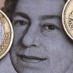 下載自路透 A two Euro coin is pictured next to a one Pound coin on top of a portrait of Britain's Queen Elizabeth in this file photo illustration shot March 16, 2016.  REUTERS/Phil Noble/Illustration/File Photo - RTX2K3O8