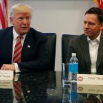 下載自路透 U.S. President-elect Donald Trump sits with PayPal co-founder and Facebook board member Peter Thiel, during a meeting with technology leaders at Trump Tower in New York U.S., December 14, 2016. REUTERS/Shannon Stapleton - RTX2V2DI