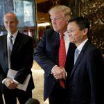 下載自路透 U.S. President-elect Donald Trump shakes hands with and Alibaba executive chairman Jack Ma after their meeting at Trump Tower in New York, U.S., January 9, 2017. REUTERS/Mike Segar - RTX2Y71P