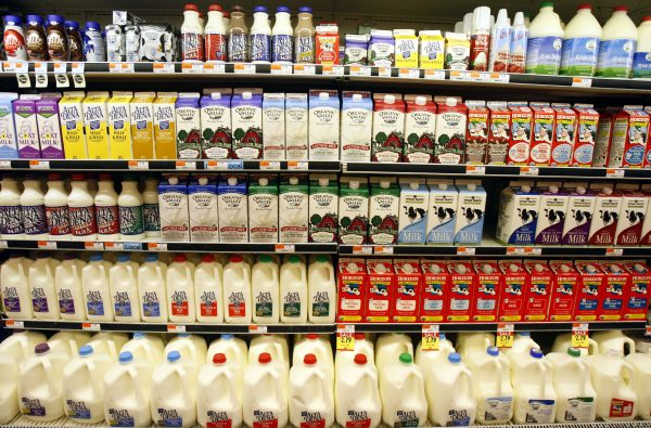 Dairy products are displayed at a market in Santa Monica