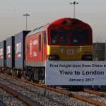 下載自路透 The first freight train to travel from China to Britain arrives at a welcoming ceremony to mark the inaugural trip at at Barking Intermodal Terminal near London near London, Britain January 18, 2017. REUTERS/Stefan Wermuth - RTSW2MH