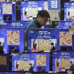 TV screens show the live broadcast of the Google DeepMind Challenge Match between Google's artificial intelligence program, AlphaGo, and South Korean professional Go player Lee Sedol, at the Yongsan Electronic store in Seoul, South Korea, Tuesday, March 15, 2016. Google's Go-playing computer program again defeated its human opponent in a final match on Tuesday sealing its 4:1 victory. (AP Photo/Ahn Young-joon)