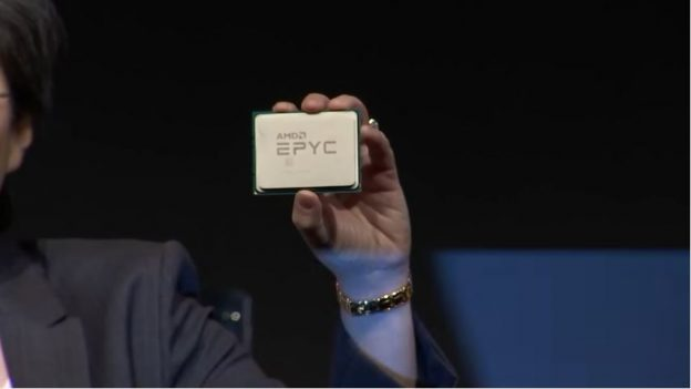 Lisa Lu from is holding EPYC chip on her hand