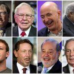 下載自路透 達志影像,請勿重複使用!!!!  A combination photo shows (top, L-R) Bill Gates, Warren Buffett, Jeff Bezos, Amancio Ortega, (bottom, L-R) Mark Zuckerberg, Larry Ellison, Carlos Slim and Michael Bloomberg.   REUTERS/File Photos - RTSVRWI
