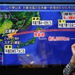 下載自路透 A passerby looks at a TV screen reporting news about North Korea's missile launch in Tokyo, Japan September 15, 2017.  REUTERS/Issei Kato - RC1354081390